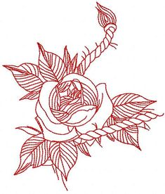 Red rose free embroidery design 14. Machine embroidery design. www.embroideres.com