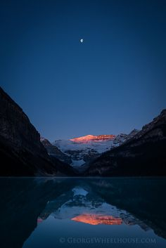 Lake Louise Sunrise &; Moonset by Old-Man-George on Flickr.