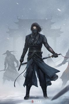 Is it just me or does this look a lot like if Bucky was in Japan on a mission as the winter soldier - Re-posting - Ninja Kunst, Arte Ninja, Ninja Art, Fantasy Character Design, Character Concept, Character Art, Dnd Characters, Fantasy Characters, Fantasy Inspiration