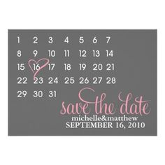 Calendar Save the Date Wedding Announcements