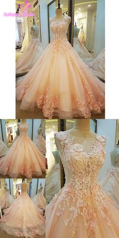 Robe De Mariage New Pink Ball Gown Wedding Dress 2017 Scoop Neck Lace Up Back Appliques Beaded Tulle Bride Dresses Real Photos