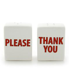 Loving this 'Please Thank You' Salt & Pepper Shaker Set on #zulily! #zulilyfinds