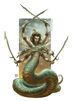 A Marilith is a naga with six arms wielding weapons from the AD&D universe. (  Marilith by kerembeyit )