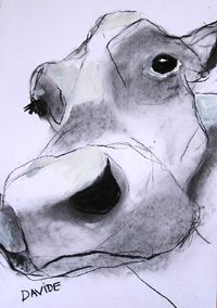 'Lou Lou' Open Edition Print by Valerie Davide' mounted Framed (Obeche Limed Wax or Matte Black Finish) Animal Sketches, Animal Drawings, Art Sketches, Art Drawings, Line Drawing, Painting & Drawing, Watercolor Animals, Watercolor Art, Charcoal Art