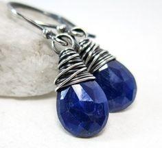 Genuine Sapphire Earrings, Sterling Silver Blue September Birthstone | AnnaArtist - Jewelry on ArtFire