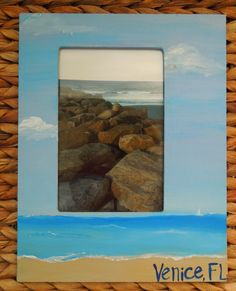 Personalized Beach Picture Frame. Wedding party gift by PaintedSea, $15.00