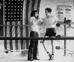 Robert de Niro and Martín Scorsese on the set of Raging Bull