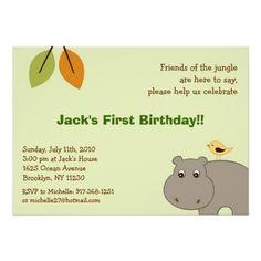 Little Hippo Jungle Custom Birthday Invitations