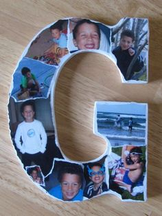 Mod podge photos onto letters. Easy!