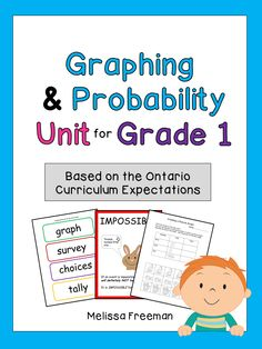 This Graphing & Probability Unit for Grade 1 is aligned with the Ontario Curriculum. It includes lesson ideas, posters, worksheets, word wall words, a game, and two short quizzes.
