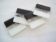 Bold Black and White Stripe Glass Coasters  by SunflowerGlassworks, $24.00