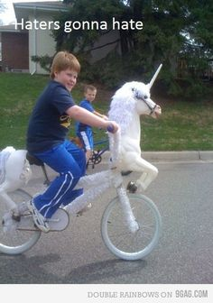 "Unicorns rule- Just like they say on GLEE!, ""I think that you are the biggest unicorn. When a pony does a good deed, he gets a horn and he becomes a unicorn and then he poops out cotton candy."""