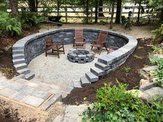 Sloped Backyard, Backyard Patio Designs, Backyard Landscaping, Fire Pit Landscaping Ideas, Firepit Ideas, Sunken Patio, Sunken Fire Pits, Sunken Garden, Garden Fire Pit