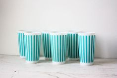 Vintage Milk Glass Tumblers - Set of 6 Hazel Atlas Teal Stripes. $60.00, via Etsy.