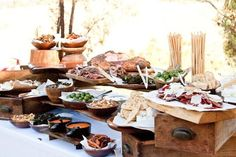 Crostini station by Heirloom LA catering. Creative buffet table set up. Use old drawers for levels. Nice set up. Rustic Food Display, Rustic Buffet, Deco Buffet, Catering Display, Food Buffet, Buffet Set, Catering Ideas, Display Ideas, Party Buffet