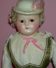Unusual Waxover Doll - With Molded Hat & Feather!!! - Glass Eyes - from preciousrosey on Ruby Lane