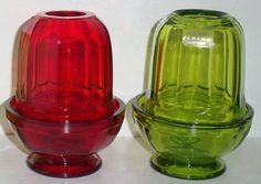2 Vintage Viking Glass Panel Fairy Lamps Eames Era Ruby Red