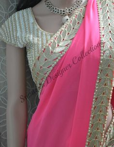 Baby Pink Pure Georgette saree finished with Pearl and Cut work Border Bouse…
