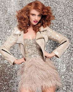 Isis Sequin Feather Dress, <3 shaped neckline, high gloss sequins, feathery skirt