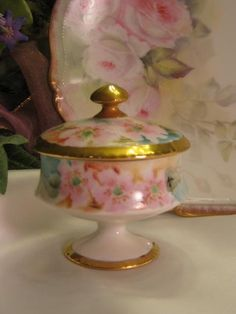 """As Sweet As Can Be"" Precious Antique Limoges France Footed Hand Painted Victorian Decorative Art Nouveau Dresser Jewel Trinket Box or Vanity Ring Keepsake Jar Pink Roses Primroses Circa 1891 -1914"