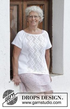 Diamonds in Lace Top / DROPS 188-16 - Top with lace pattern, raglan and A-shape, knitted top down. Size: S - XXXL Piece is knitted in DROPS Safran.