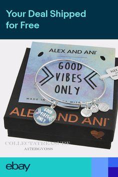 "Authentic Alex and Ani ""Good Vibes Only"" Shiny Silver Expandable Charm Bangle Lava Bracelet, Bracelet Set, Alex And Ani Bracelets, Link Bracelets, Crystal Rose, Healing Bracelets, Good Vibes Only, Stainless Steel Bracelet, Stone Beads"