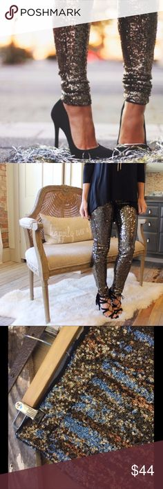 """Bronze sequin leggings BNWT Bronze Sequin Leggings, size M. Never worn and perfect for holiday parties! Gorgeous bronze sequins over fully lined black thick leggings. Waist laying flat: M 14"""". inseam 29"""". 100% polyester outer with sequins, soft rayon lining.  Purchased from a Poshmark boutique (photos from original listing) and they are gorgeous but not a great fit for me. Size M is advertised fitting 6/8 but more of a 4 if you have thicker thighs/booty. Pants Leggings"""