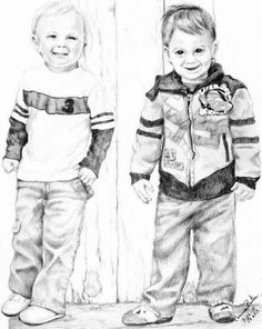 """Cousins"" Graphite portrait done of two cute little guys. by Connie Baten"