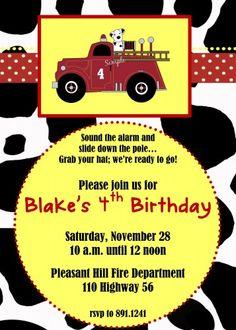 FIretruck themed Birthday Party Invitation