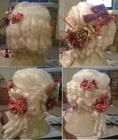 Marie Antoinette, homemade accessories on store bought wig Doll Wigs, Doll Hair, Halloween Costume Patterns, Halloween Costumes, Marie Antoinette Costume, Madame Du Barry, Buy Wigs, Rococo Fashion, Halloween 2014