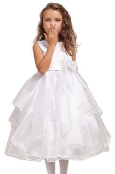 7971a5a27 Amazon.com: KID Collections Girls' Satin Sleeveless Flower Girl Dress:  Clothing