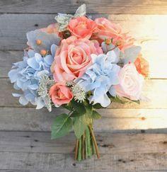 Coral Wedding Bouquet, Wedding Flowers, Bridal Bouquet, Coral Roses, Silk Flowers … - All For Bridal Hair Bridal Bouquet Coral, Silk Flower Bouquets, Prom Flowers, Bride Bouquets, Bridal Flowers, Flower Bouquet Wedding, Silk Flowers, Coral Wedding Flowers, Baby Blue Wedding Theme