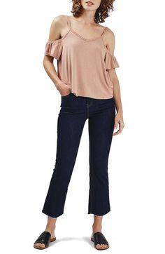 Topshop Short Sleeve Ruffle Bardot Top (Regular & Petite) available at #Nordstrom