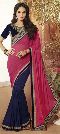 #ColorBlock: new #saree for parties and small get-to-gathers. Like?  #IndianFashion #NavyBlue #women #Partywear