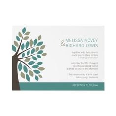 Modern Wedding Invitation Tree and Leaves by ThePaperMill