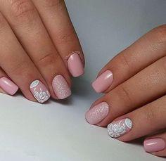 April nails, Beautiful pink nails, Pale pink nails, Pink nail art, Pink nail polish with sparkles, Pink shellac, Pink shellac nails, Spring nail designs
