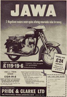 JAWA by old school paul, via Flickr Vintage Advertising Posters, Old Advertisements, Vintage Posters, Bike Poster, Motorcycle Posters, Vintage Bikes, Vintage Ads, Bike India, Vintage Motorcycles