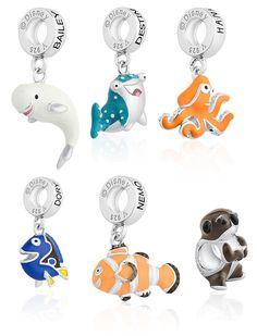 Pingentes da Vivara, no estilo charm da Pandora, dos personagens da Disney Procurando Dory (e Nemo)!