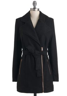 This coat featuring exposed zippers is versatile enough to complement just about anything in your wardrobe.
