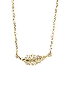 Mini Leaf Necklace with Diamonds