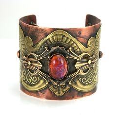 Neo Victorian Style Bohemian Gypsy Cuff with Czech Dragons Breath Glass Cabochon