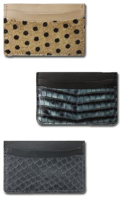 Eye-catching card holders with interior suede lining!