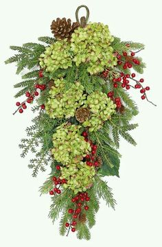 Christmas Decorations Decorating : Door Swag or use anywhere! with dried hydrangeas Artificial Christmas Wreaths, Christmas Swags, Noel Christmas, Outdoor Christmas, Holiday Wreaths, Christmas Projects, Winter Christmas, Christmas Flowers, Christmas Door Wreaths