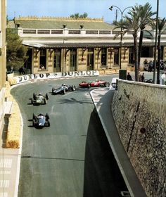"""F1 Historic - Monaco 1963 - When this corner was simply called """"Virage de la Gare"""". Hill leading Clark, Ginther, Surtees and McLaren."""