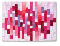"Liz Kuny, contemporary quilt artist  Untitled/red 7½ "" x 10"" Cotton fabric. Machine pieced; machine quilted."