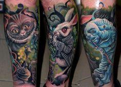 Cat Tattoo - Worm Tattoo - Alice in wonderland - rabbit tattoo - Best Tattoos Ever - Tattoo by Müllner Csaba - 04