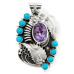 """Chaco Canyon Couture Amethyst and Turquoise """"Leaf"""" Sterling Silver Pendant at HSN.com."""