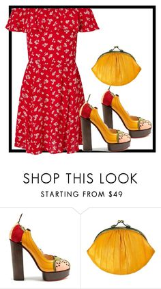 """""""..."""" by gabriela-costa-carneiro ❤ liked on Polyvore featuring beauty, Charlotte Olympia, BeckSöndergaard and Miss Selfridge"""