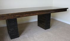 steppe leg design on an all solid wood hand built dining table.