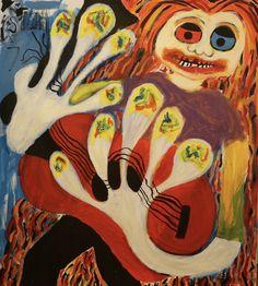 Guitar Player/Maarit Korhonen, Acrylic, Oil Stick, Canvas, 73cm x 65cm Music Painting, Guitar Painting, Online Painting, Artwork Online, Original Art For Sale, Original Music, Dark Paintings, Original Paintings, Dancer In The Dark